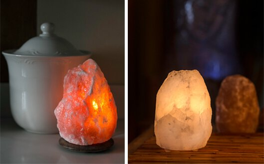 amber + grey salt lamps