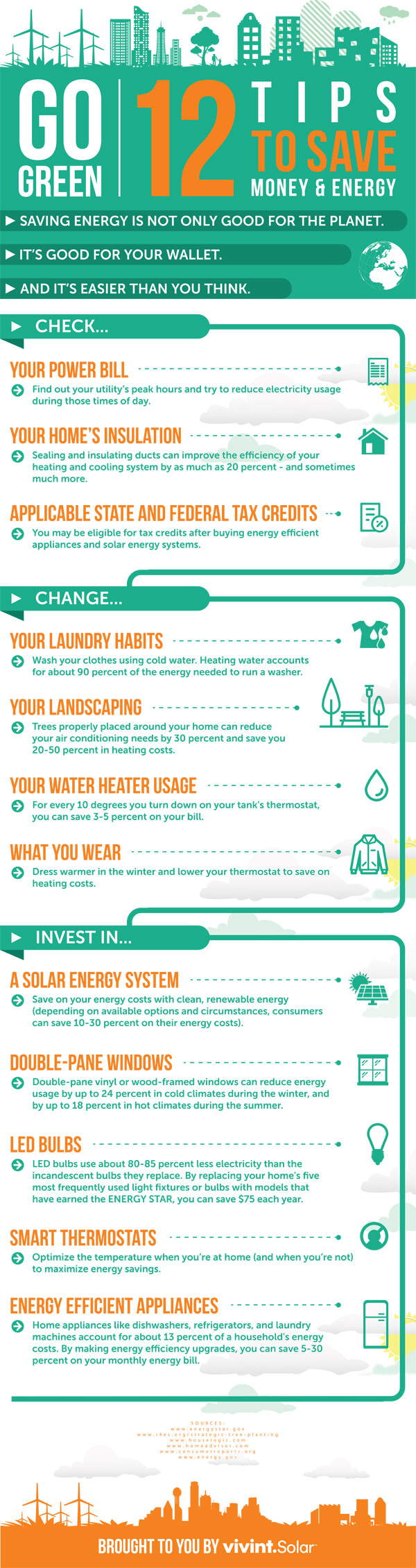 12 Ways to Save Money & Energy infographic